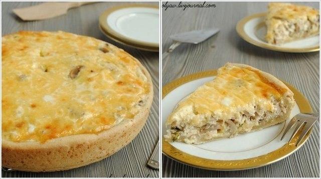 Открытый пирог с грибами рецепт с фото